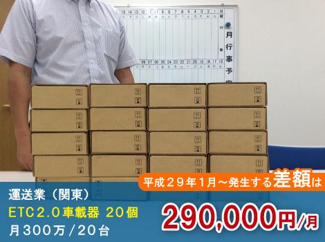 関東の運送業はETC2.0車載器導入後、月290,000円の削減
