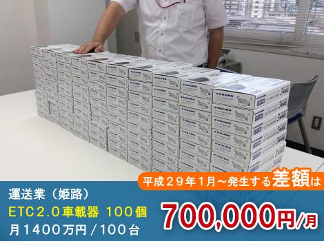 姫路の運送業はETC2.0車載器導入後、月700,000円の削減